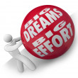 Big Dreams and Effort Person Rolling Ball Uphill to Goal — 图库照片