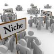 Many Niche Groups Clustered Around Niches Signs - Stock Photo