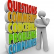 Questions Comments Concerns Thinking Person Words - Foto Stock
