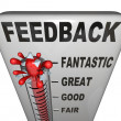 Stock Photo: Feedback Level Measuring Thermometer Opinions Reviews