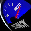 Stockfoto: Feedback Fuel Gauge Customer Opinions Reviews Comments