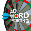 Ad Targeting Word on Dartboard Dart Words — Stock Photo