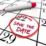 Spar dir das Datum Worte kreisten auf Kalender rote Markierung — Stockfoto