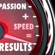 Passion Plus Speed Equals Results Words on Speedometer — Stock Photo #16977655
