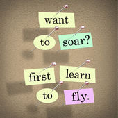 Want to Soar First Learn to Fly Words Saying Quote — Stock Photo