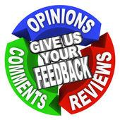 Danos tus opinión flecha palabras comentarios opiniones críticas — Foto de Stock