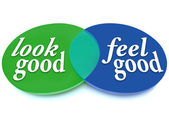 Look and Feel Good Venn Diagram Balance Appearance vs Health — 图库照片