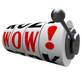 Wow Word Slot Machine Wheels Surprise Winner Jackpot — Stock Photo