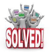 Gelöst von jubelnden lösung antwort plan ziel erreicht — Stockfoto