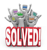 Resuelto vítores objetivo de plan de respuesta solución alcanzada — Foto de Stock