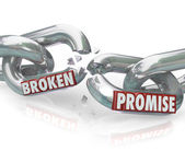 Broken Promise Chain Links Breaking Unfaithful Violation — Stock Photo