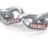 Broken Promise Chain Links Breaking Unfaithful Violation — Stock Photo
