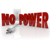 No Power Words Electrical Cord Outlet Electricity Outage — 图库照片