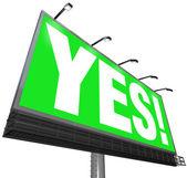 Ja ordet billboard grön skylt godkännande acceptans svar — Stockfoto