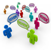 Review Words in Speech Bubbles Customer Reviews — Stock Photo