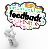 Opinie myśli myśliciel chmura przegląd opinii komentarz — Zdjęcie stockowe
