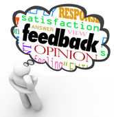 Retroalimentación que nube pensador revisión opinión comentario — Foto de Stock