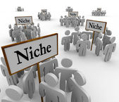 Many Niche Groups Clustered Around Niches Signs — Stock Photo
