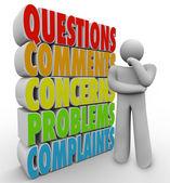 ερωτήσεις σχόλια ανησυχίες σκέψης πρόσωπο λέξεις — Φωτογραφία Αρχείου