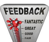 Comentarios sobre el nivel de retroalimentación opiniones de termómetro para medir — Foto de Stock