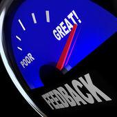 Indicatore carburante di feedback commenti recensioni opinioni dei clienti — Foto Stock