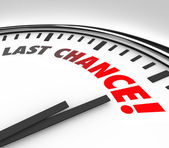 Last Chance Clock Final Countdown Deadline Time — 图库照片