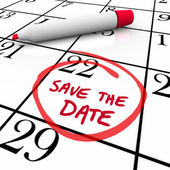 Zapisz wyrazy daty krążyły po kalendarz czerwony znacznik — Zdjęcie stockowe
