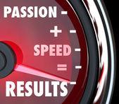 Pasja oraz szybkość jest równa wyniki słów na prędkościomierz — Zdjęcie stockowe
