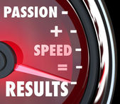 Passion Plus Speed Equals Results Words on Speedometer — Stockfoto