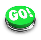 Go Round Green Button Begin Start Your Action — Stock Photo