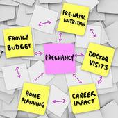Těhotenství se týká očekával matek rodiče poznámek sticky notes — Stock fotografie