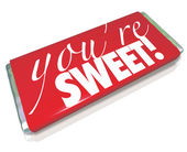 You're Sweet Words Red Candy Bar Wrapper — ストック写真
