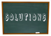 Solutions Chalkboard Chalk Word Answers New Ideas — Stock Photo