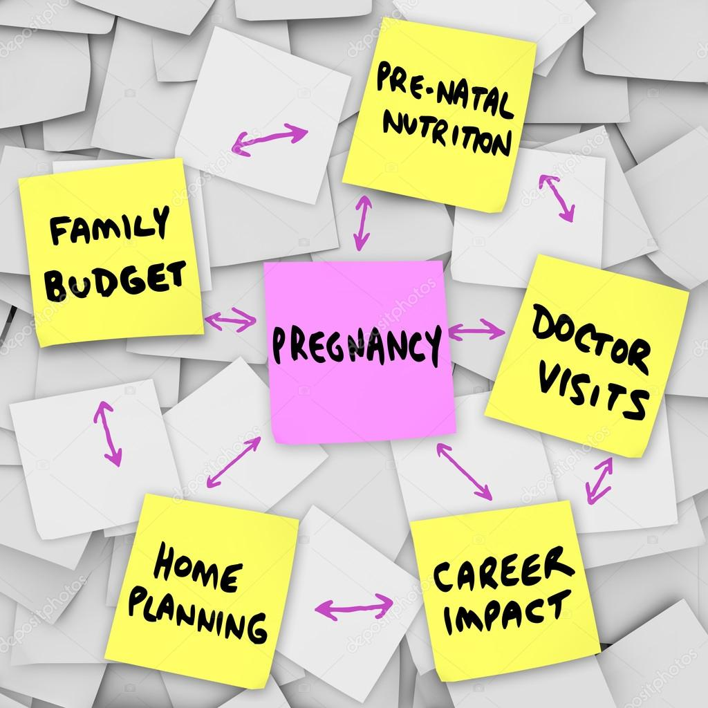 The word pregnancy on a pink sticky note surrounded by words describing important concerns related to being pregnant: family budget, home planning, pre-natal nutrition, doctor visits and career impact — Stock fotografie #16977693
