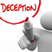 Deception Man Writing Word Lying Dishonesty Insincerity — Stock Photo