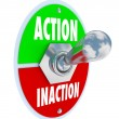 Action vs Inaction Lever Toggle Switch Driven Initiative — Zdjęcie stockowe