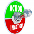 Action vs Inaction Lever Toggle Switch Driven Initiative — Stok fotoğraf