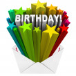 Royalty-Free Stock Photo: Birthday Word Stars Envelope Invitation Party