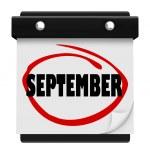 Настенный календарь сентября слово изменить расписание месяц — Стоковое фото