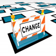 Stock Photo: Change Word Barricade Org Chart New Organization