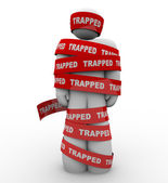 Trapped Person Tangled in Red Tape No Freedom — Stock Photo