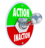 Action vs Inaction Lever Toggle Switch Driven Initiative — Stock Photo