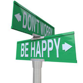 Don't Worry Be Happy Two-Way Street Signs — Stockfoto