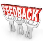 Servizio assistenza clienti di feedback squadra ascensore parola — Foto Stock