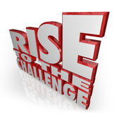 Rise to the Challenge 3d Words Bravery Courage — Stock Photo