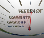 Feedback Speedometer Measuring Comments Opinions Reviews — Stock Photo