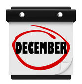 Grudnia słowo kalendarz ścienny zmienić miesiąc zima boże narodzenie — Zdjęcie stockowe