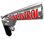 Gun Control Words Pistol Handgun Stop Violence — Stock Photo