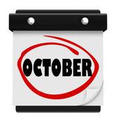 Kalendarz ścienny października słówko zmienić harmonogram miesiąca — Zdjęcie stockowe
