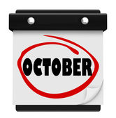 Oktober ordet väggkalender ändra månad schema — Stockfoto